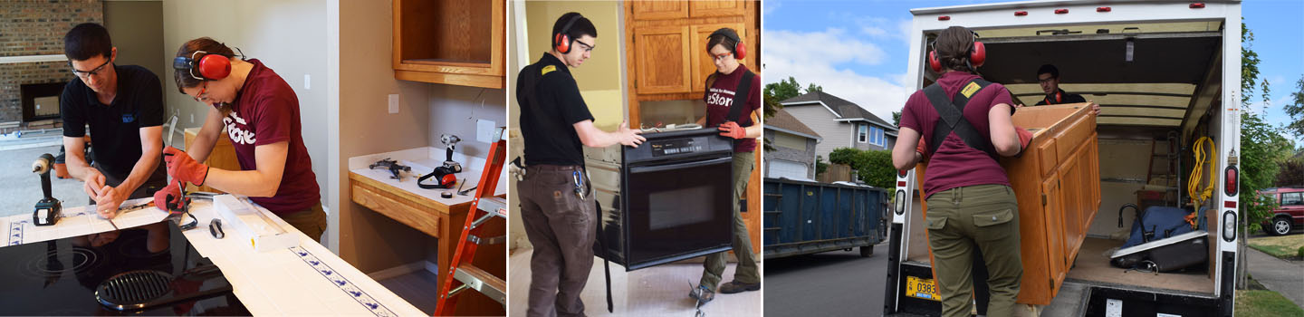 photos of Salvage Service team removing appliances