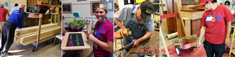 Images of ReStore volunteers working at various jobs